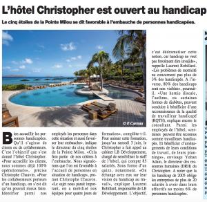 L'Hôtel Christopher (St Barth) est ouvert au Handicap